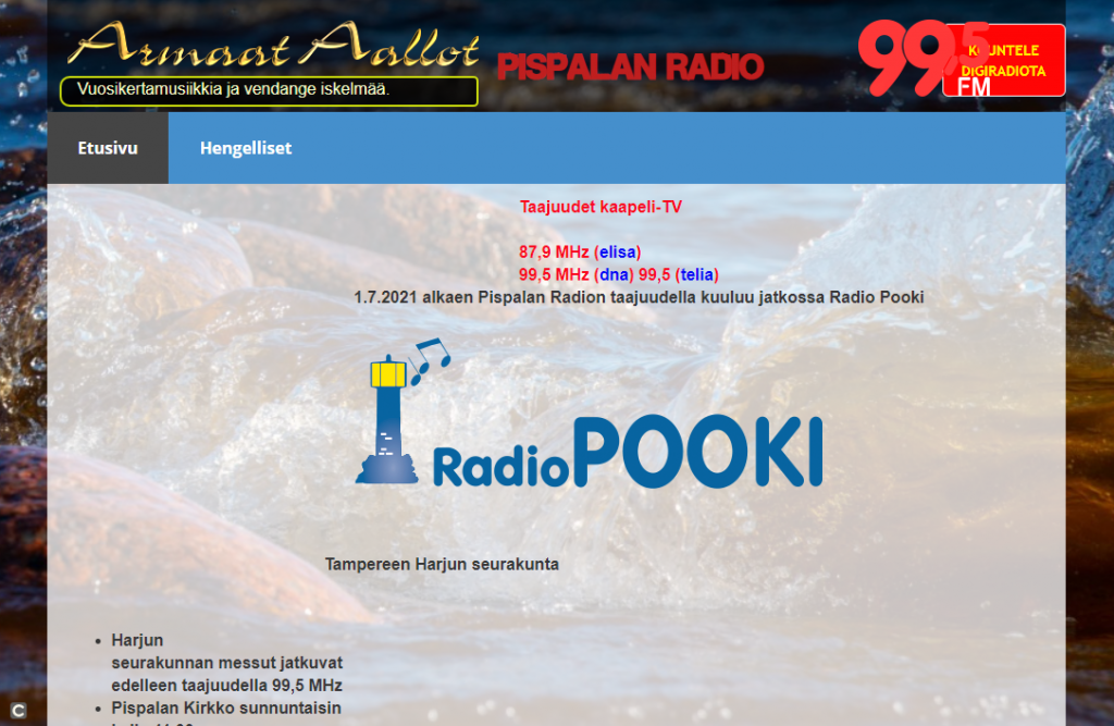 The notice on the site of Pispalan Radio informing about the takeover of Radio Pooki on the frequencies of the station