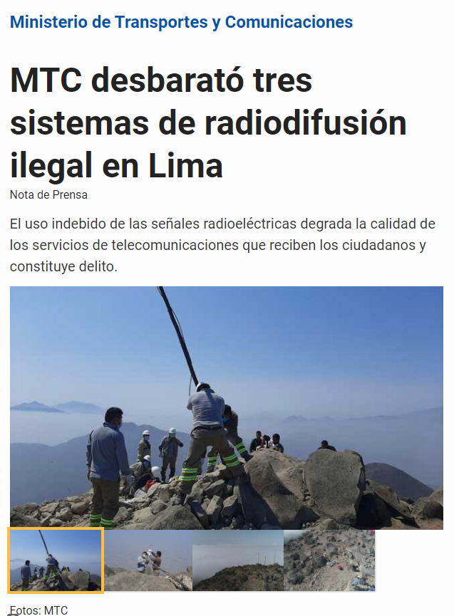 Penalties also apply to those who advertise on unlicensed radio stations in Peru