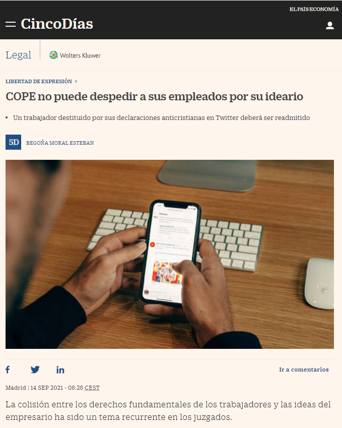 The article in CincoDías, a column in the economics section of the Spanish daily El País, discusses the subject in-depth and also offers a link to read the ruling